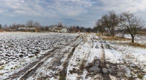 Ajardine com uma estrada de terra que conduz à vila ucraniana remota Velyka Budischa, oblast de Poltavskaya, Ucrânia Imagens de Stock Royalty Free