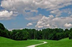 Ajardine com uma estrada que estica na distância Imagem de Stock