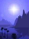 Paisagem com uma estrela azul Imagens de Stock Royalty Free
