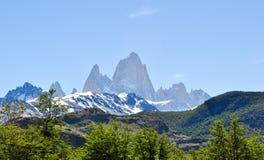 Ajardine com uma floresta e picos no fundo Imagens de Stock