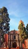 ajardine com uma igreja Católica em San Miguel de Allende, México Imagem de Stock