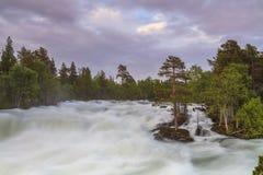 Ajardine com uma vista do rio da montanha e Imagens de Stock