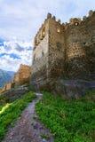 Ajardine com vista da fortaleza de Khertvisi, idade 5 Fotografia de Stock