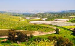 Ajardine com vistas dos prados, dos campos, do céu e de robôs agrícolas Imagem de Stock