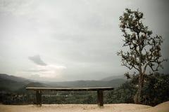 Ajardine con el banco vacío en el punto del Mountain View Fotografía de archivo