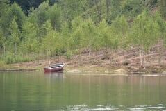 Ajardine con el barco en el río inmóvil y muchos pequeños abedules Imágenes de archivo libres de regalías