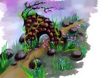 Ajardine con el castillo, la hierba, las plantas y el árbol Imagen de archivo