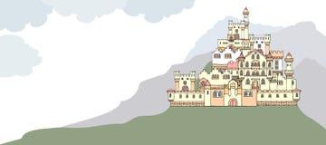 Ajardine con el castillo medieval antiguo en la colina S dibujado mano Imagenes de archivo