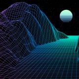Ajardine con la rejilla del wireframe del juego de ordenador o del fondo retro diseñado 80s 3d de la ciencia con el sol y las mon Libre Illustration