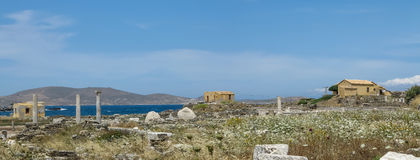 Ajardine con las columnas romanas antiguas del tiempo en Delos Imagenes de archivo