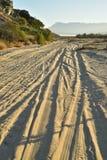 Ajardine con las pistas del neumático por la mañana tropical Baja, México del camino de la playa fotografía de archivo libre de regalías