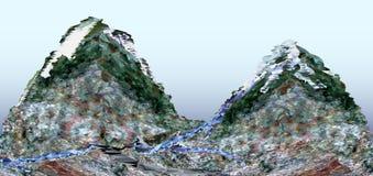 Ajardine con los picos de montaña cubiertos con hielo y Foto de archivo libre de regalías