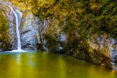 Ajardine con una cascada en un barranco, en el otoño Imagenes de archivo