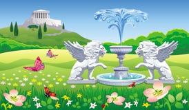 Ajardine con una fuente y las estatuas de leones Imagen de archivo