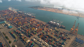 Ajardine da vista aérea para o porto logístico do chabang de Laem Fotos de Stock Royalty Free