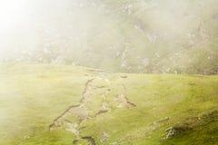 Ajardine das montanhas de Bucegi, parte de Carpathians do sul em Romênia em um dia nevoento Foto de Stock Royalty Free