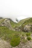 Ajardine das montanhas de Bucegi, parte de Carpathians do sul em Romênia em um dia nevoento Imagens de Stock Royalty Free