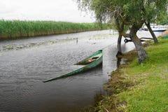 Ajardine do delta com barco afundado, delta Dunarii de Danúbio de Romênia Imagem de Stock Royalty Free