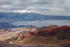 Ajardine do vulcão de Osorno, no fundo que você pode ver Foto de Stock