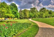Ajardine el cuadro de un parque en Salzburg, Austria Imagen de archivo
