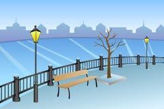 Ajardine el ejemplo de la lámpara del banco del río del día de invierno de la ciudad del terraplén Imagenes de archivo