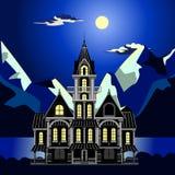 Ajardine el mar en la noche el idílico y fabuloso stock de ilustración