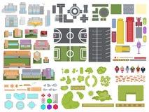 Ajardine el sistema de elementos de la ciudad aislado en el fondo blanco Ciudad t stock de ilustración