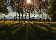 Ajardine el sol de las luces de la puesta del sol de la sol de TURQUÍA Antalya del manzara Fotografía de archivo libre de regalías