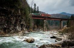 Ajardine em montanhas Carpathian com rio e a ponte railway Imagens de Stock Royalty Free