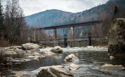 Ajardine em montanhas Carpathian com rio e a ponte railway Imagem de Stock