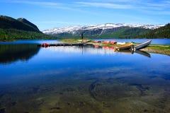 Ajardine em Noruega com água, as montanhas e os barcos Imagens de Stock Royalty Free