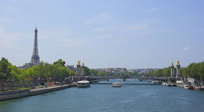 Ajardine em Paris Ponte sobre o Seine Foto de Stock Royalty Free