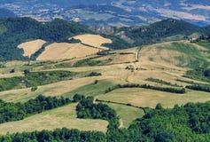 Ajardine em Romagna no verão do al Rubicone de Sogliano Imagens de Stock