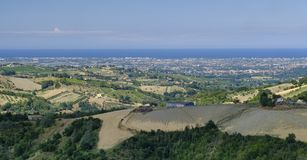 Ajardine em Romagna no verão do al Rubicone de Sogliano Fotografia de Stock Royalty Free
