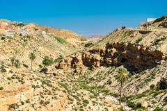 Ajardine em Toujane, uma aldeia da montanha do Berber em Tunísia do sul Imagens de Stock