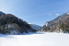 Ajardine em um dia ensolarado com um lago congelado Imagem de Stock