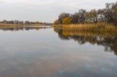 Ajardine em um rio no pagamento urbano de Zarytschanka, Ucrânia de Chaplinka Imagem de Stock