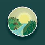 Ajardine em volta do rio da ilustração do vetor e da floresta verde contra o sol Imagem de Stock Royalty Free