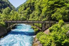 Ajardine en Abjasia con el puente de piedra sobre el río imagen de archivo