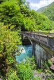 Ajardine en Abjasia con el puente de piedra sobre el río fotos de archivo