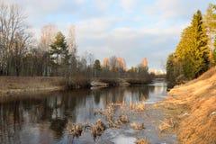 Ajardine en los bancos del río Oredezh Imagenes de archivo