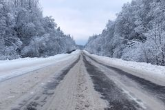 Ajardine a estrada na floresta do inverno com coberto de neve Foto de Stock Royalty Free