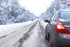 Ajardine a estrada na floresta do inverno com coberto de neve Imagens de Stock Royalty Free
