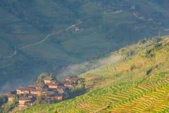 Ajardine a foto de terraços do arroz e de vila China Imagens de Stock