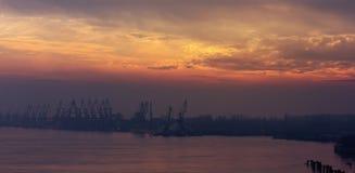 Ajardine guindastes das silhuetas no porto no por do sol no dia nevoento Fotos de Stock Royalty Free
