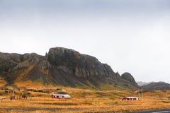 Ajardine a ideia da montanha grande e do campo de grama Fotografia de Stock