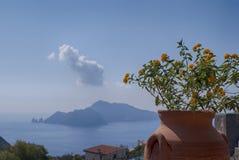 Ajardine a ilha de Capri, vista da vila dos términos Imagens de Stock Royalty Free