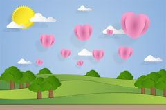 Ajardine a ilustração com os balões do coração no estilo de papel da arte Foto de Stock Royalty Free