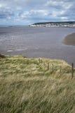 Ajardine a imagem da Weston-Super-égua vista dos penhascos do mar em Bre Imagem de Stock Royalty Free