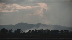 Ajardine a imagem do cultivo no campo com céu e montanha Fotografia de Stock